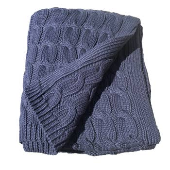 CABLE KNIT THROW NAVY