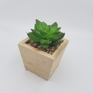 ARTIFICIAL POTTED SUCCULET IN WOODEN BASE