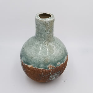 CERAMIC BOTTLE - BLUE & BROWN