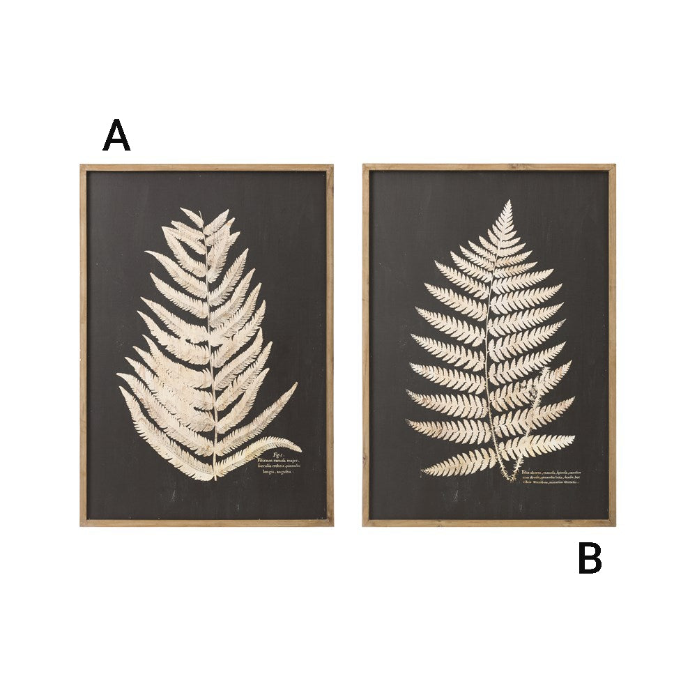 WOOD FRAMED WALL DECOR WITH LASER CUT FERN LEAF