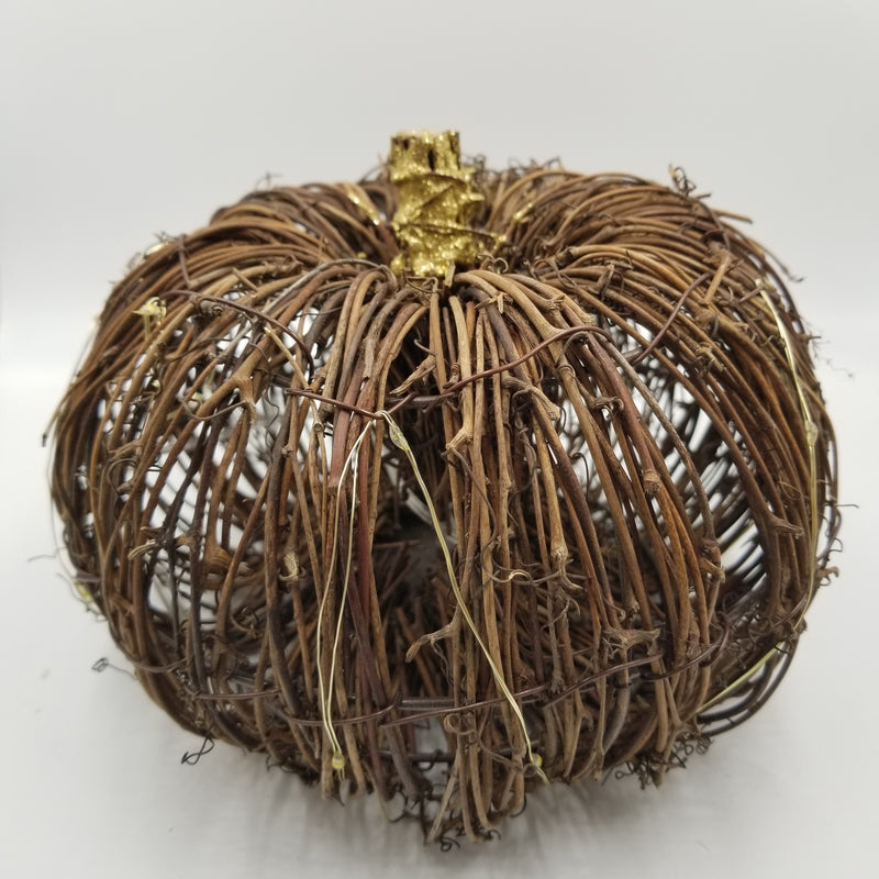 WICKER PUMPKIN WITH LIGHTS