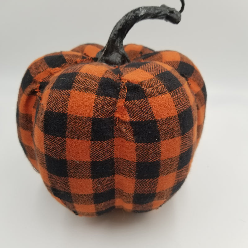 BLACK AND ORANGE PLAID PUMPKIN