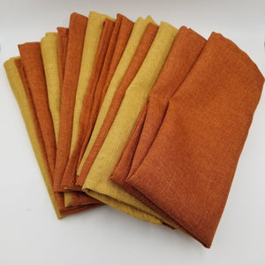 SET OF 10 NAPKINS - ORANGE AND GOLD