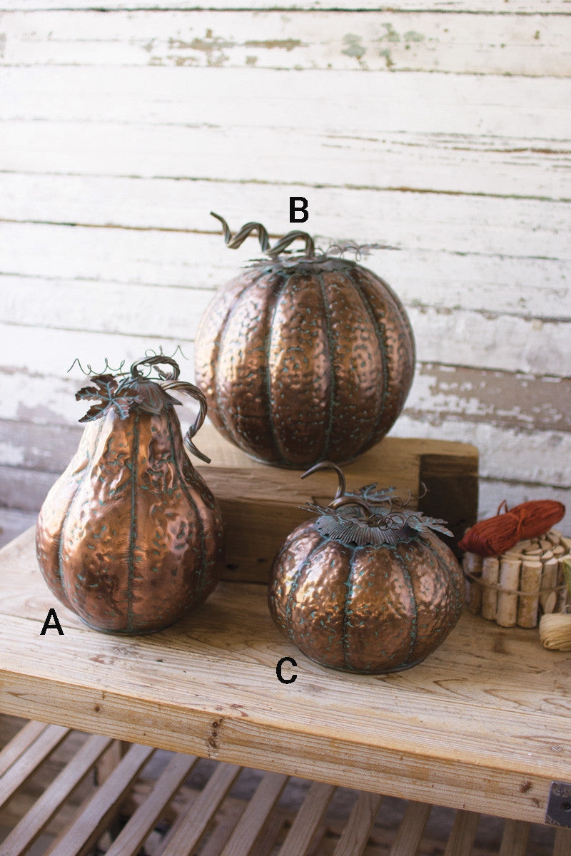 METAL PUMPKINS WITH COPPER FINISH
