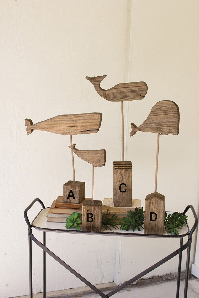 RECYCLED WOODEN WHALES ON STANDS