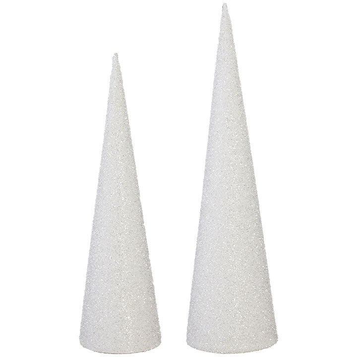GLITTERED CONE TREE - SET OF 2