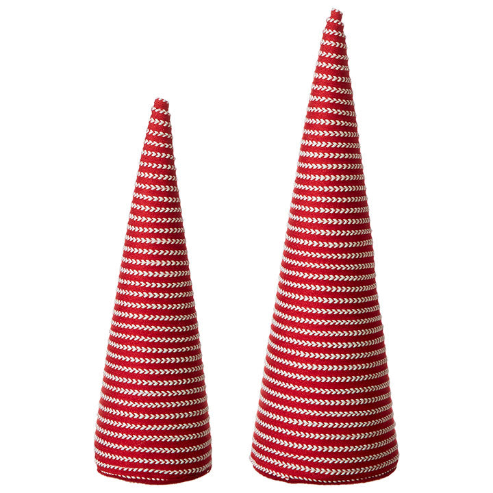 SET OF 2 STRIPED CONE TREE