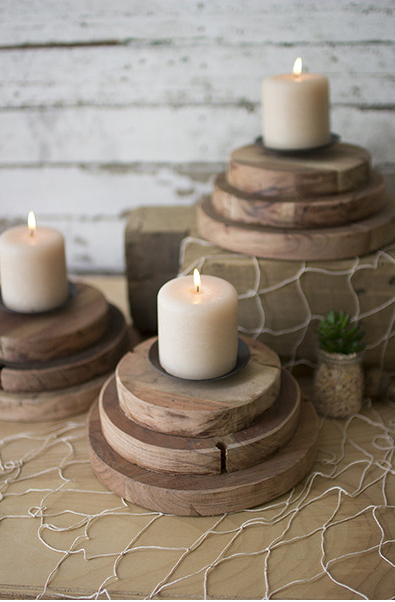 THREE TIERED RECYCLED WOOD CANDLE HOLDER