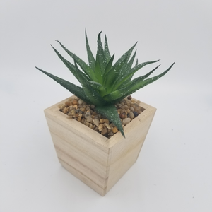 AFTIFICIAL POTTED SUCCULENT IN WOODEN BASE