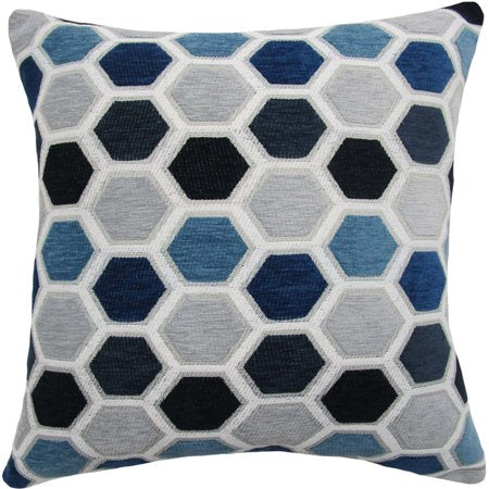 BLUE HEXAGON DECORATIVE THROW PILLOW