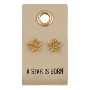 LEATHER TAG WITH EARRINGS - STAR
