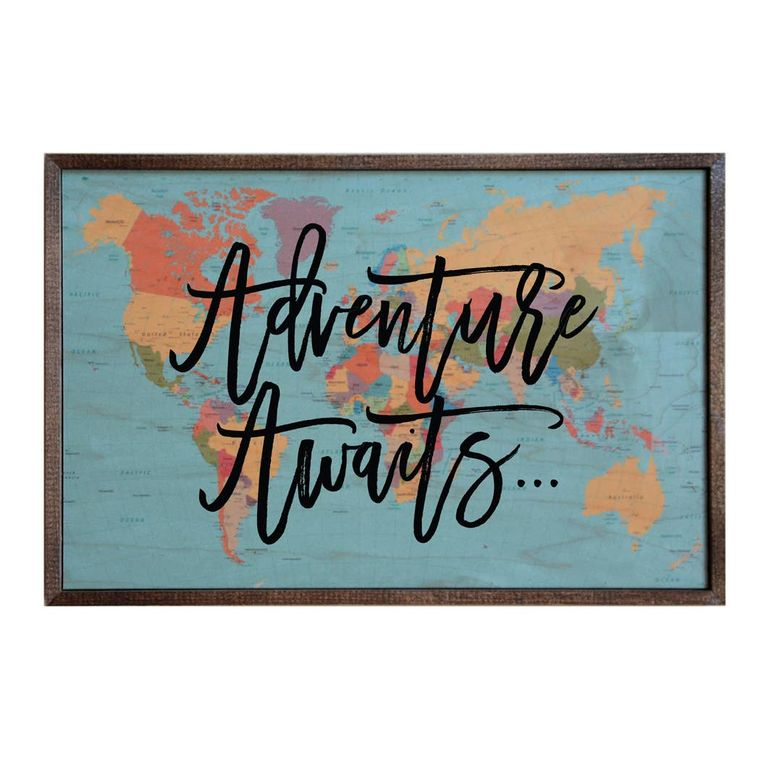 12x18 ADVENTURE AWAITS WOOD WALL SIGN