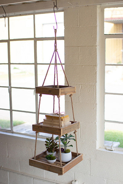 HANGING THREE TIERED SQUARE RECYCLED WOOD DISPLAY WITH JUTE ROPE