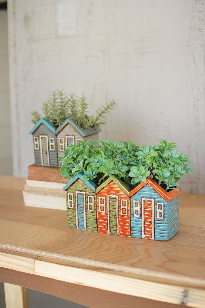 SET OF 2 CERAMIC HOUSE PLANTERS