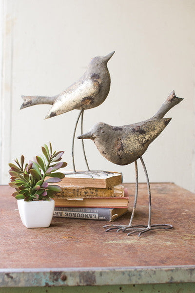 SET OF 2 METAL BIRDS / RUSTIC GREY