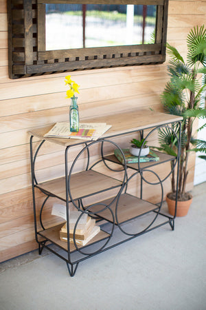 METAL & WOOD CONSOLE WITH ROUND METAL DETAIL