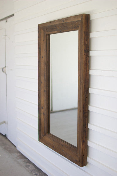 RECYCLED RECTANGLE WOOD FRAMED MIRROR