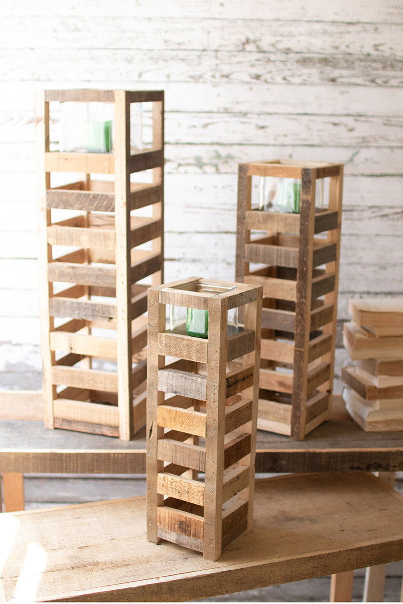 NATURAL TALL SQUARE RECYCLED WOOD CANDLE TOWER WITH GLASS INSERT
