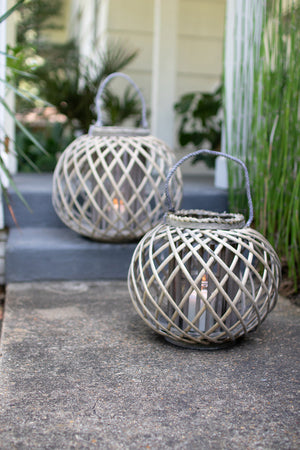 LARGE ROUND GREY WILLOW LANTERN WITH GLASS