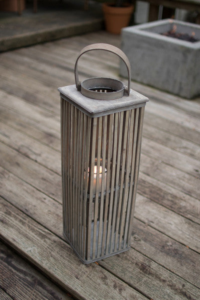 SMALL SQUARE GREY BAMBOO LANTERN WITH GLASS