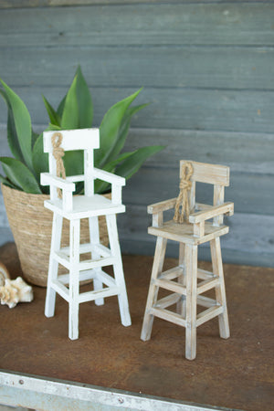 SET OF 2 WOODEN LIFE GUARD CHAIRS
