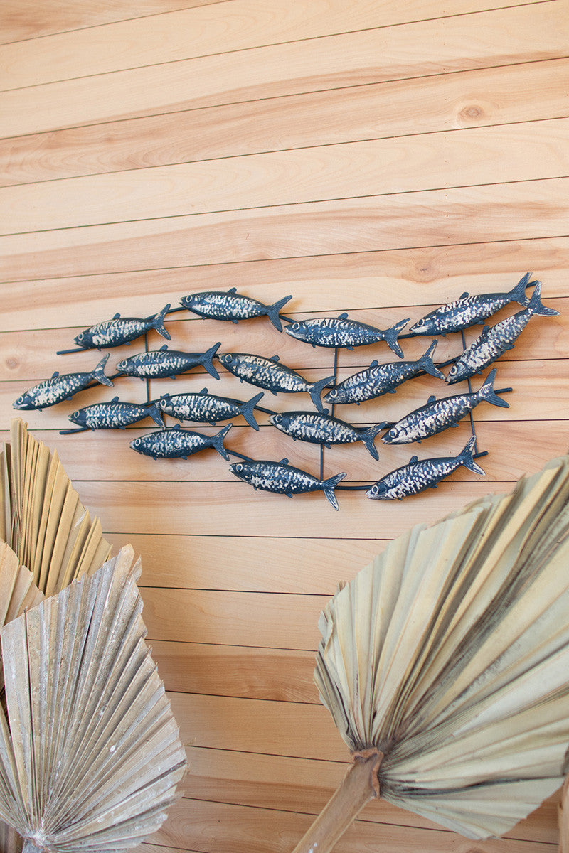 PAINTED METAL SCHOOL OF FISH WALL HANGING