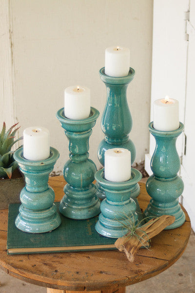 SET OF 5 TURQUOISE CERAMIC CANDLE HOLDERS