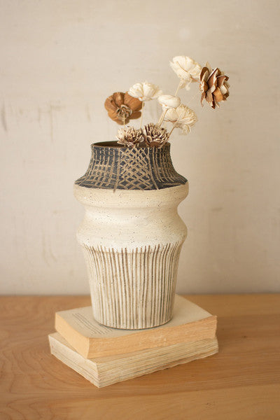 WHITES AND BROWNS ETCHED CERAMIC VASE