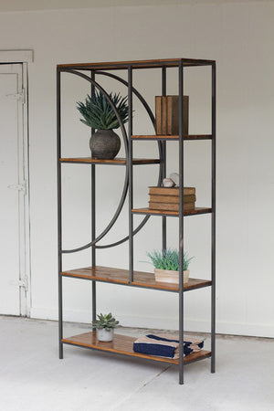 WOOD AND METAL SHELVING UNIT WITH DEMILUME DETAIL