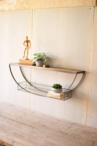 DEMILUNE SHELF WITH RECYCLED WOOD AND WIRE BASKET