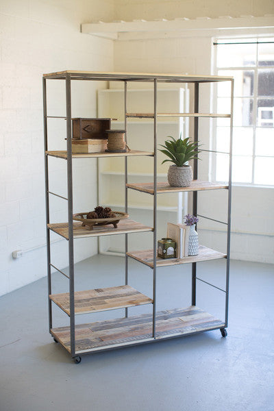 RECYCLED WOOD & METAL ADJUSTABLE SHELVING UNIT