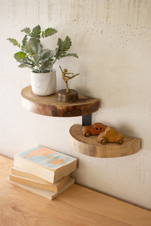 TWO TIERED WOOD SLAB WALL SHELF