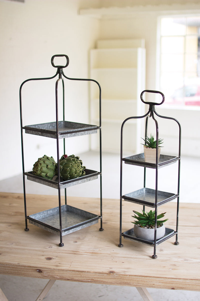 TALL METAL DISPLAY STANDS W/ GALVANIZED TRAYS