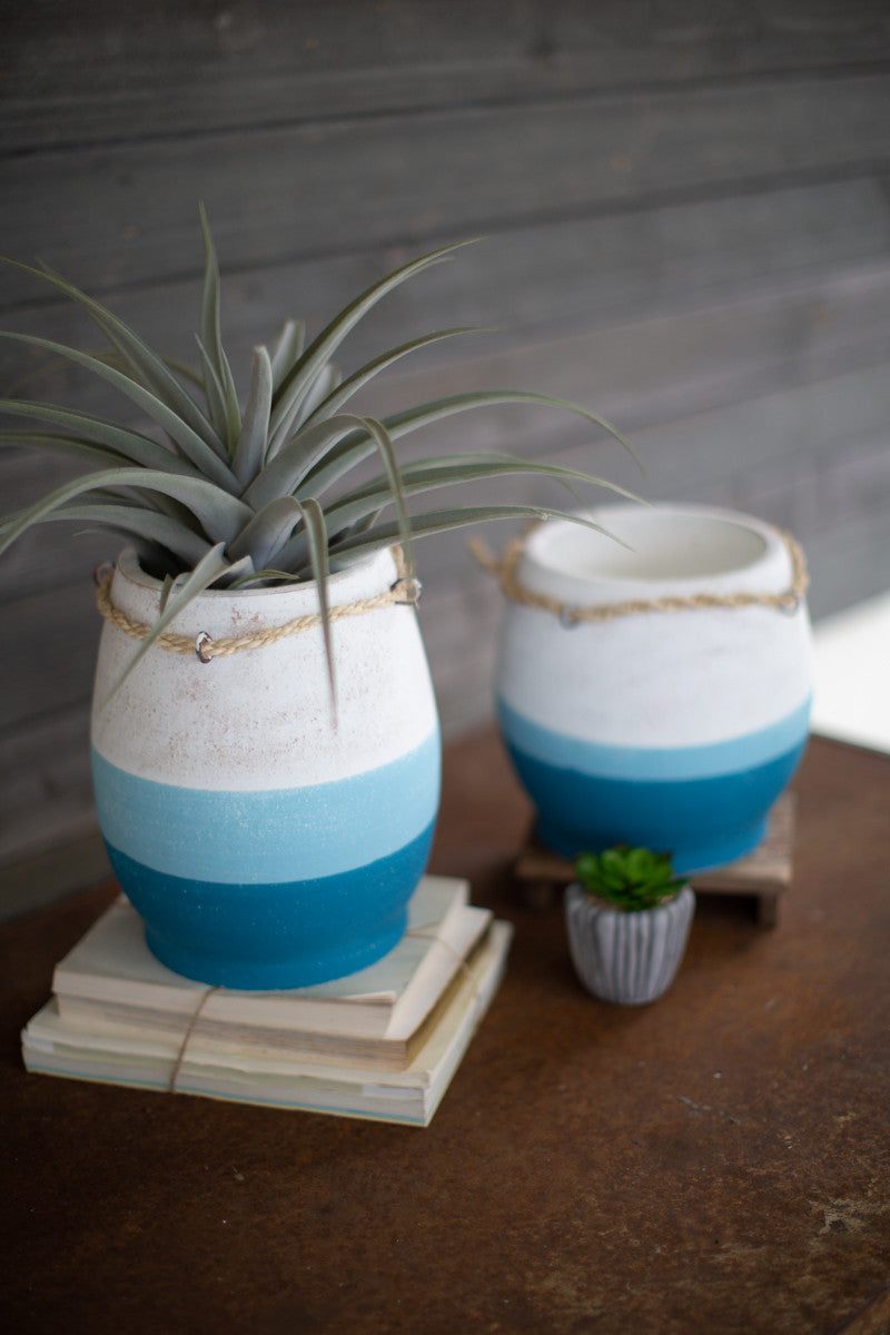 BLUE STRIPED BOBBER VASES