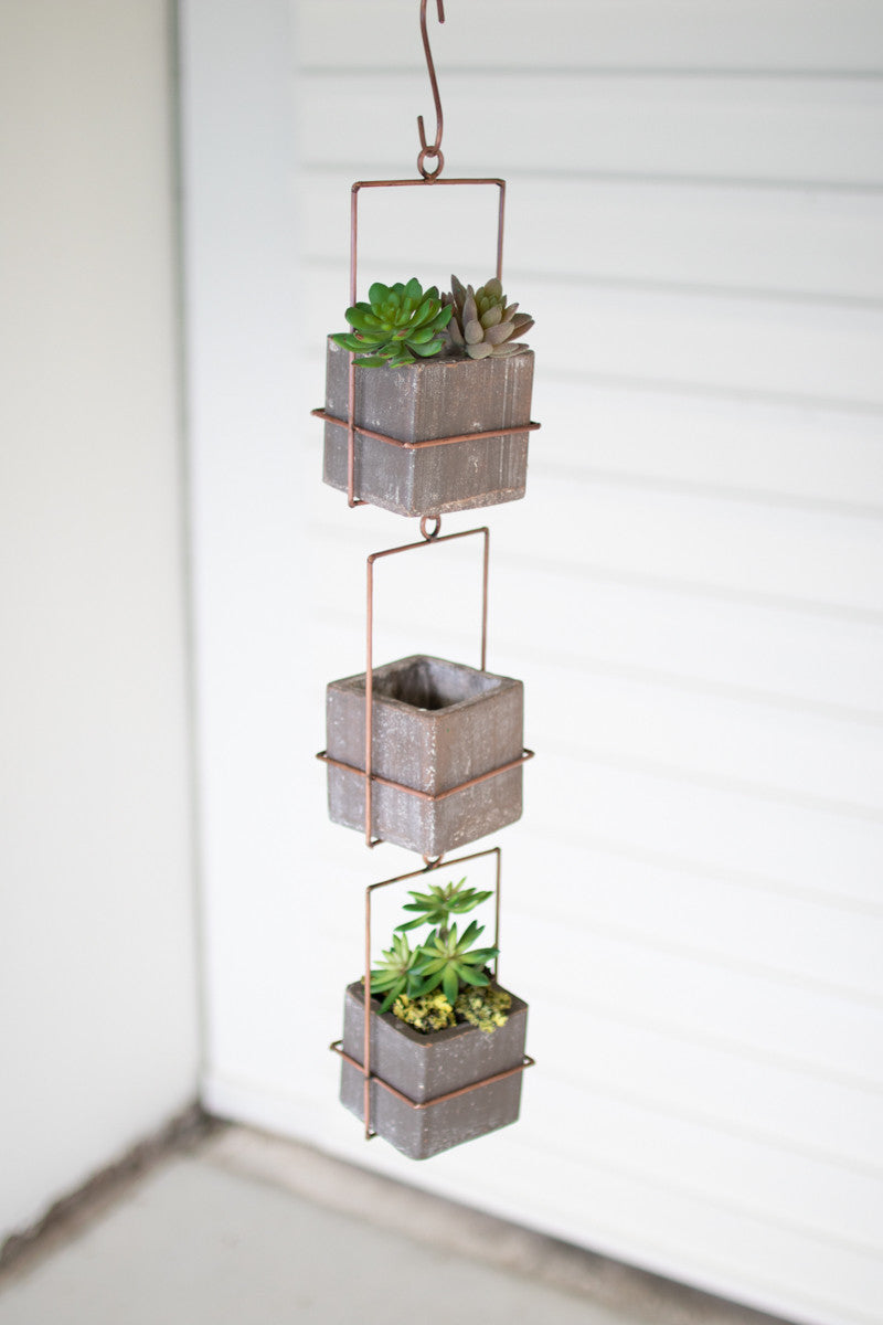 HANGING THREE GREY SQUARE CLAY PLANTERS WITH COPPER FINISH HANGER