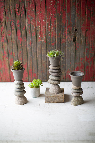 SET OF 3 GREY CLAY PLANTERS ON RIVER ROCK BASES