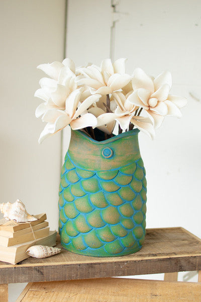 LARGE BLUE FISH CLAY POT