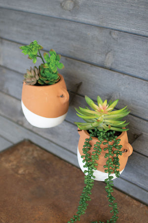 CLAY WALL PLANTER WITH WIRE HANGER