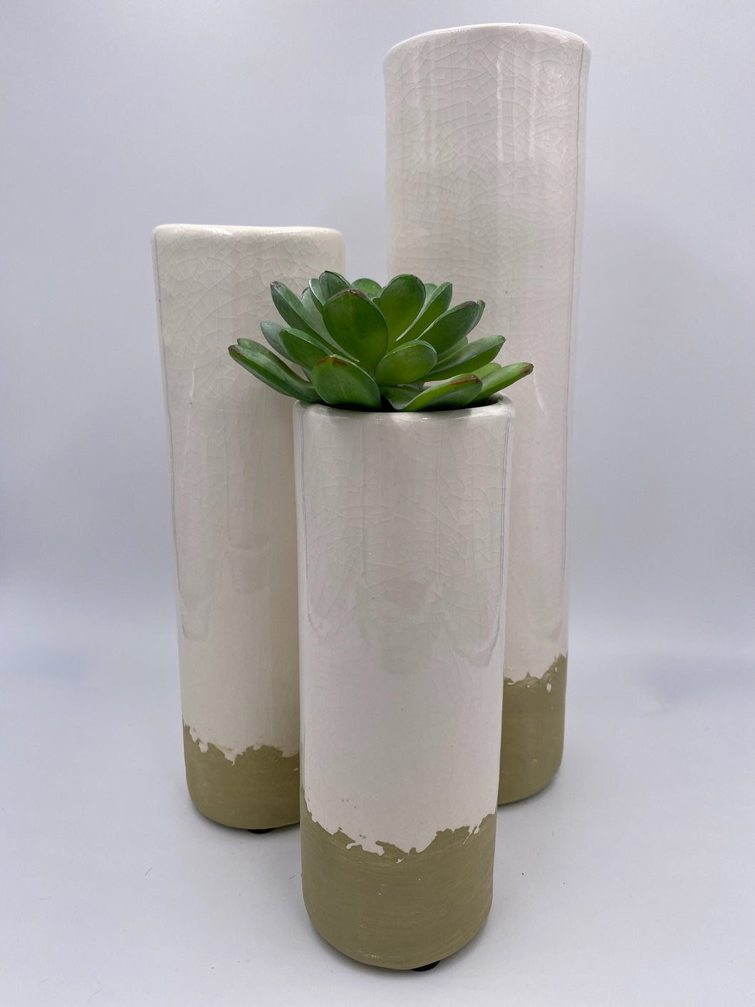SET OF 3 WHITE CERAMIC CYLINDER BUD VASES
