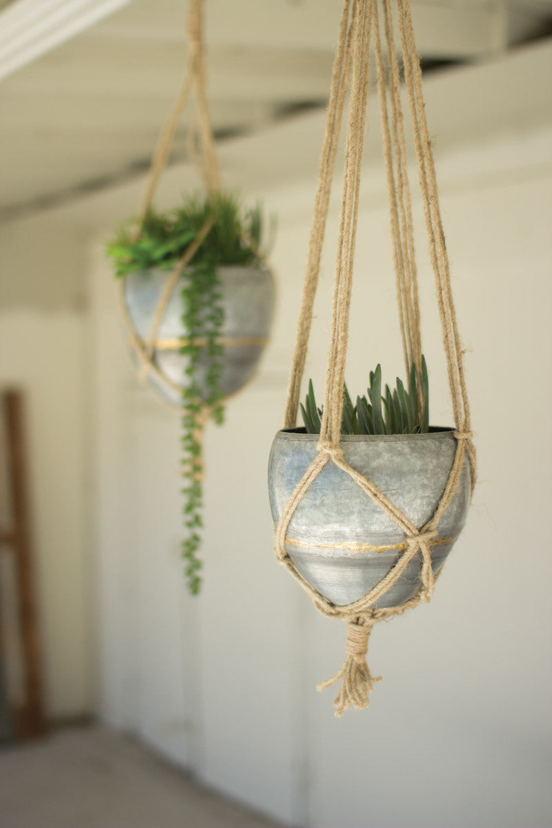 SET OF 2 HANGING GALVANIZED PLANTERS WITH WOVEN JUTE ROPE