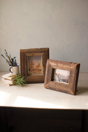SET OF 2 RECYCLED WOOD PHOTO FRAMES