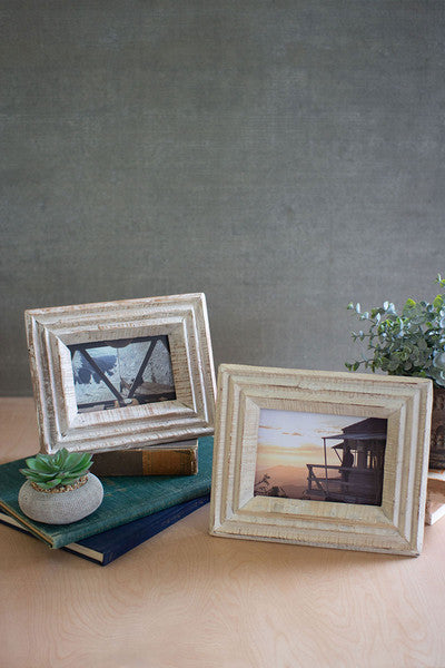 RECYCLED WHITE WASH WOOD PHOTO FRAME