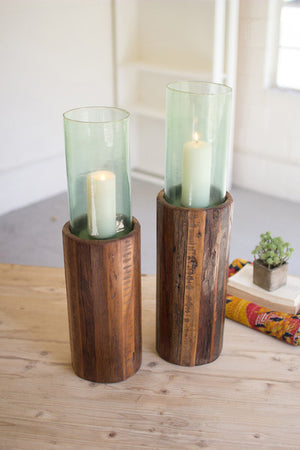 RECYCLED WOOD PEDESTAL WITH GREEN GLASS HURRICANE