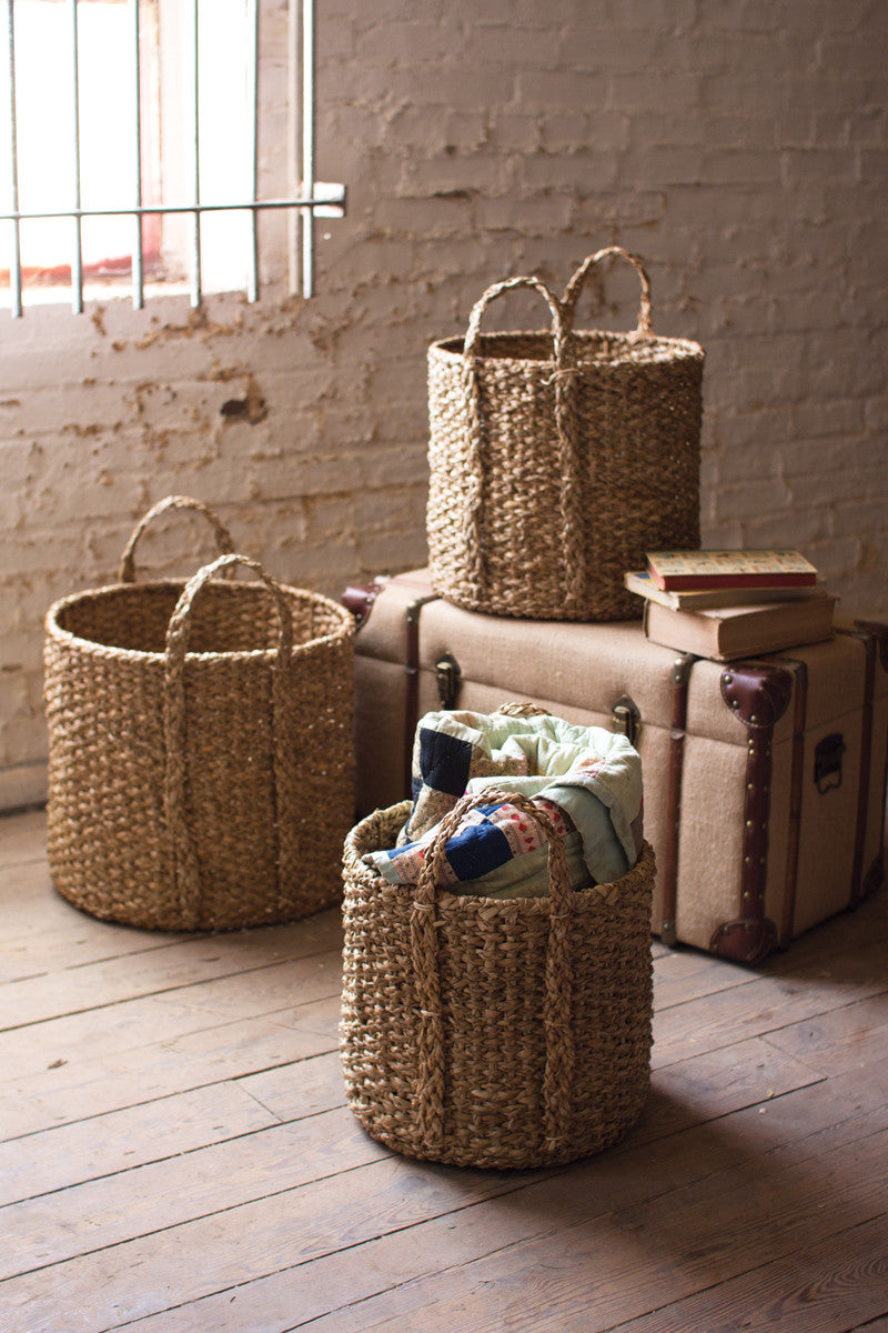 ROUND BRAIDED SEA-GRASS STORAGE BASKET WITH HANDLES