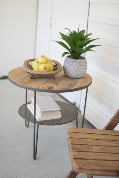 RECYCLED WOOD ROUND SIDE TABLE WITH PERFORATED METAL SHELF