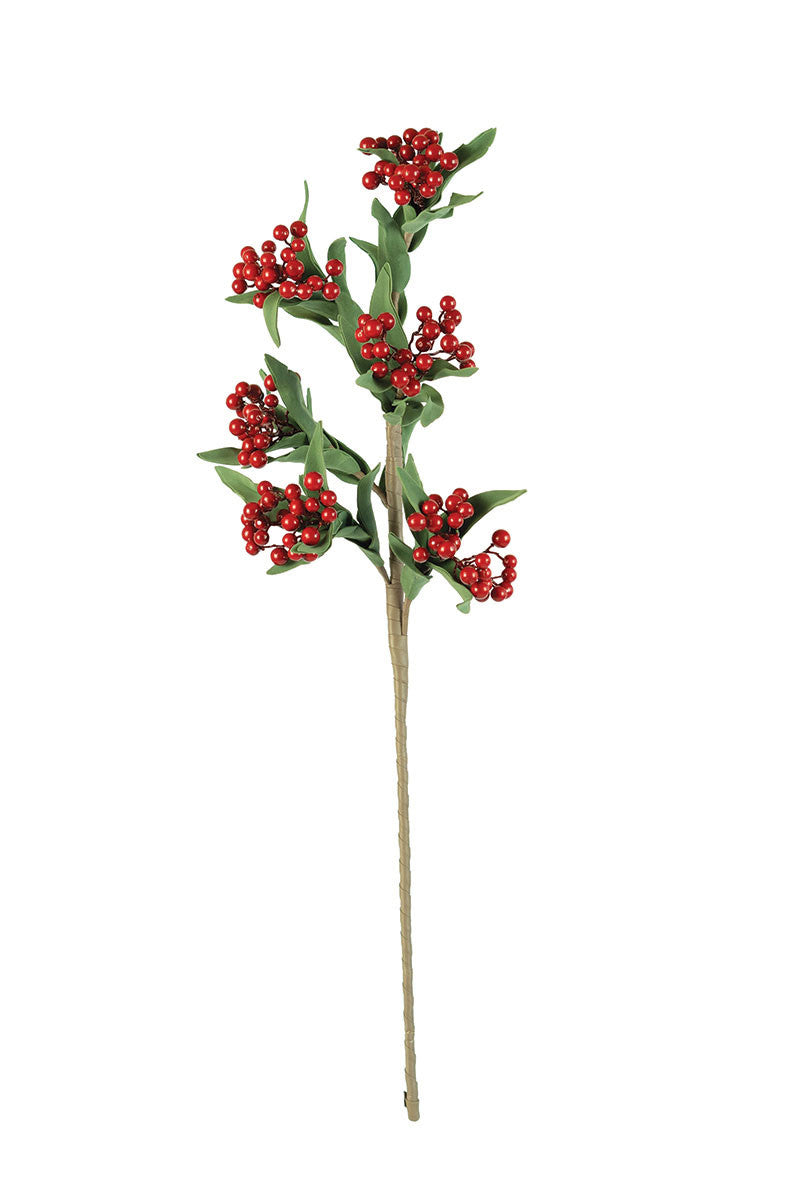 RED BERRY FAUX FLORAL STEM