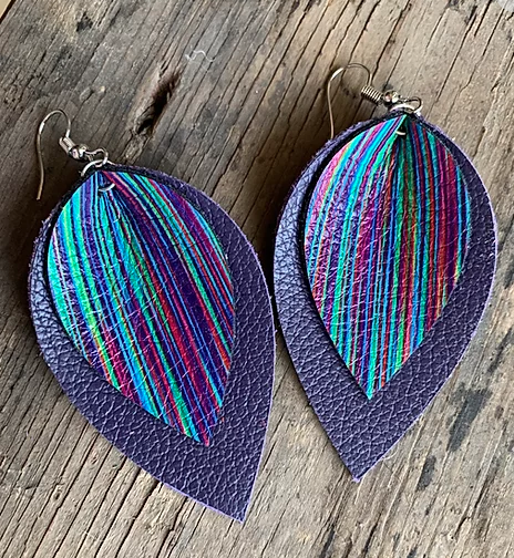 PURPLE AND RAINBOW LEATHER EARRINGS