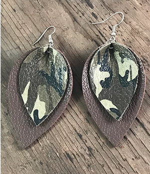 GREEN AND BROWN CAMO EARRINGS