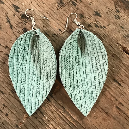 MINT PALM LEAF TEXTURED LEATHER EARRINGS