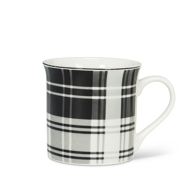 BLACK & WHITE PLAID MUG